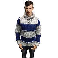 Мужской теплый свитер, серого с синим цвета