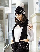 Стильная и яркая шапка, украшенная сердечками, от Kamea - Krappa. черный/белый, 56-58