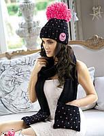 Стильная и яркая шапка, украшенная сердечками, от Kamea - Krappa. 56-58, черный/розовый