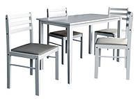 """Обеденная группа стол 4 стула """"Сириус"""" (1+4) ткань антарио, белый стол обеденный со стульями комплект"""