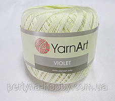 Пряжа нитки для вязания хлопковые  Виолет Ярнарт Violet YarnArt 100% бавовна молочний № 0326