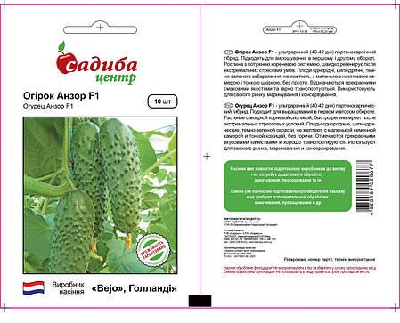 Семена огурца Анзор F1 (Бейо/Bejo, САДЫБА ЦЕНТР), 10 семян — ультраранний гибрид (40-45 дней), партенокарпик , фото 2