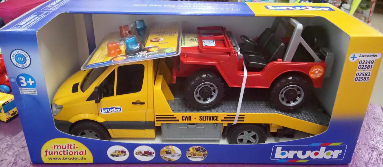 Bruder игрушка - эвакуатор MB Sprinter (свет + звук) + джип, М1:16 02535