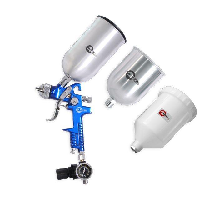 Краскораспылитель PT-1506 1.7мм, с регулятором давления, тремя бачками (2-метал 800, 600