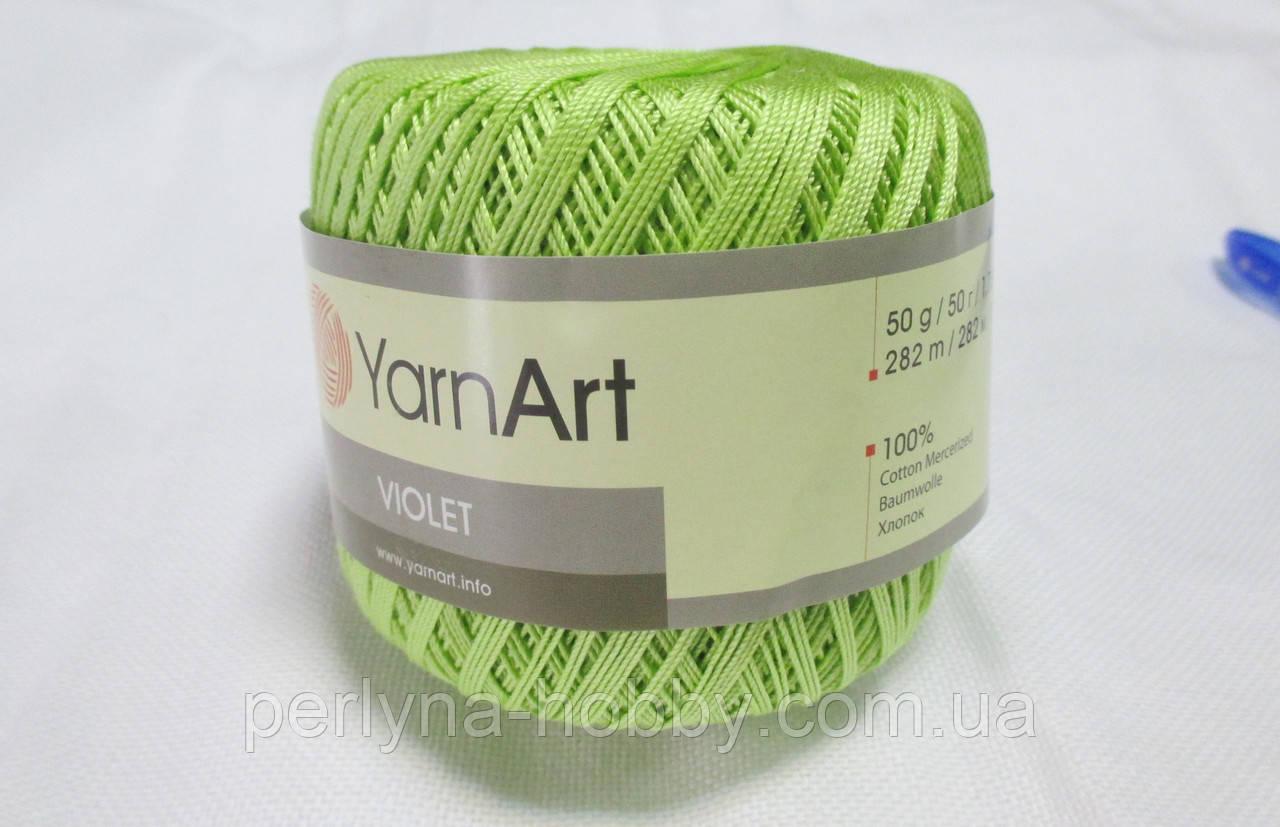 Пряжа Violet YarnArt 100% бавовна салатовий № 5352