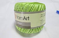 Пряжа нитки для вязания хлопковые Виолет Ярнарт Violet YarnArt 100% бавовна салатовий № 5352