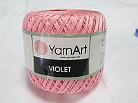 Пряжа нитки для вязания хлопковые Виолет Ярнарт Violet YarnArt 100% бавовна рожевий № 6313
