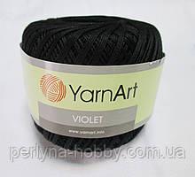 Пряжа нитки для вязания хлопковые  Виолет Ярнарт  Violet YarnArt 100% бавовна чорний № 999