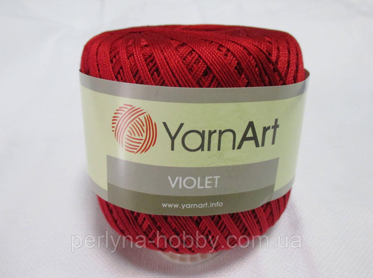 Пряжа  нитка для в'язання Violet YarnArt 100% бавовна червоний темний № 5020
