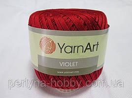 Пряжа нитки для вязания хлопковые  Виолет ЯрнартViolet YarnArt 100% бавовна червоний темний   № 5020