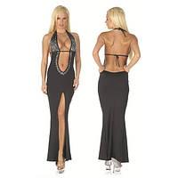 Сексуальное черное платье с высоким разрезом спереди юбки