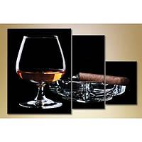 Модульная картина из 3 частей, бокал виски, 140х90