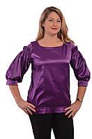 Блузка  фиолетовая нарядная женская  воланами и рюшами бл 004