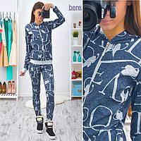 Женский модный костюм из ангоры: мастерка на молнии и брюки (расцветки), фото 1