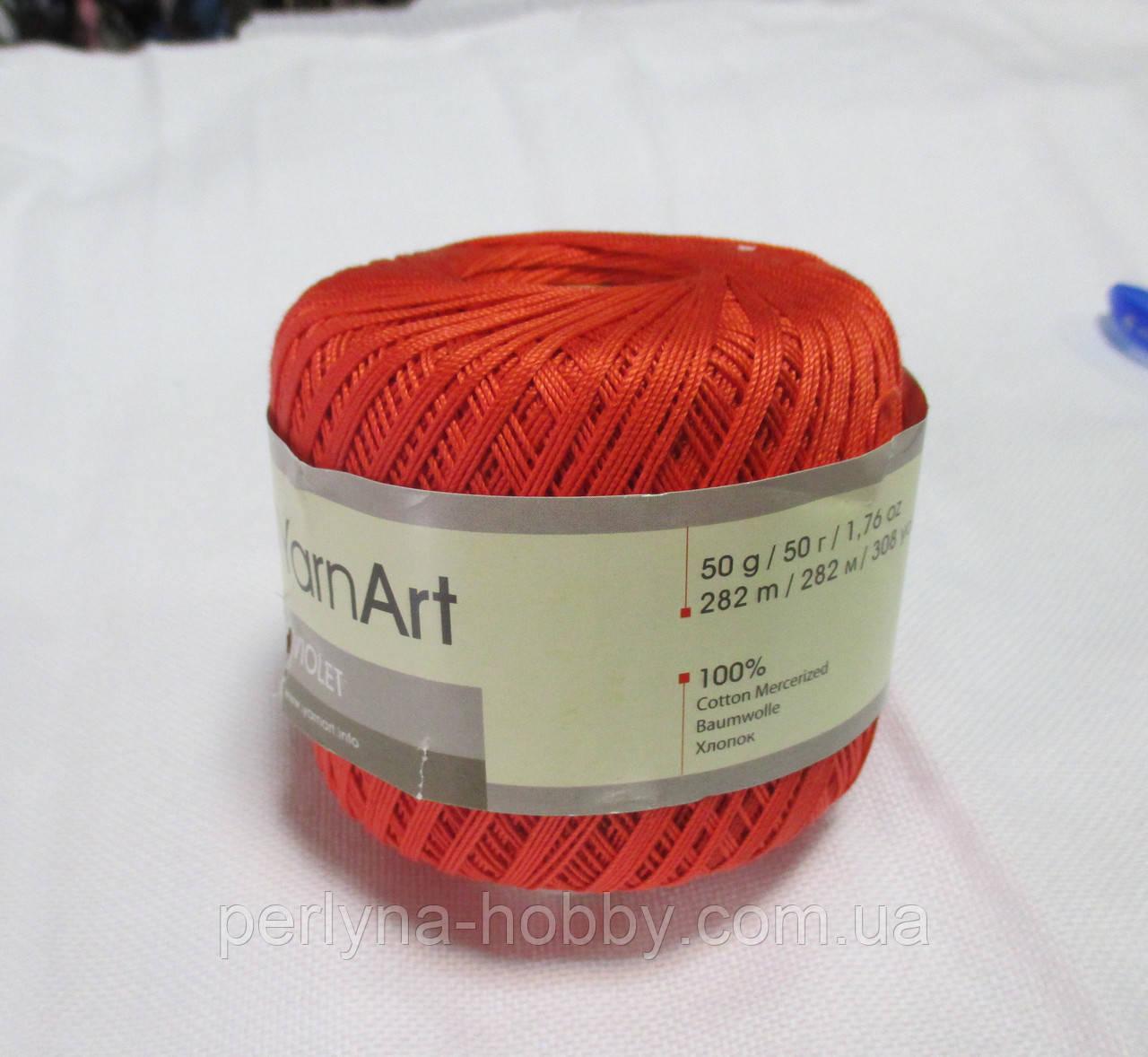 Пряжа Violet YarnArt 100% бавовна оранжево-кораловий № 4910