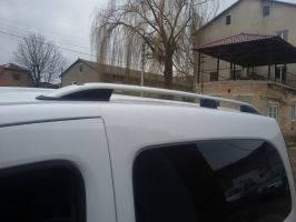 """Рейлинги Renault Kangoo 2008+ для короткой базы  Crown (тип skyport), сплошный алюминий, цвет """"Серый мат"""""""