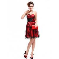 Платье без бретель с кружевным принтом красное