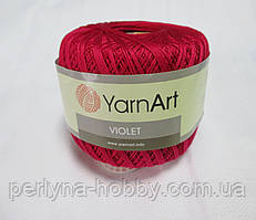 Пряжа нитки для вязания хлопковые  Виолет Ярнарт Violet YarnArt 100% бавовна малиновий № 6358