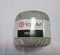 Пряжа Violet YarnArt 100% бавовна сірий № 4920