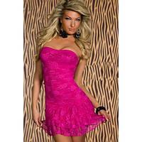 Манящее платье без бретель розового цвета