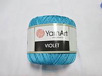 Пряжа  нитка для в'язання Violet YarnArt 100% бавовна бірюза №0008