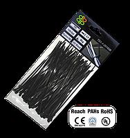 Стяжки кабельные пластиковые чёрные UV Black 2,5*120мм (100шт)