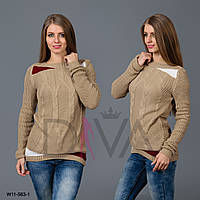 Свитер дешевый женский с узором косичка W11-563-1
