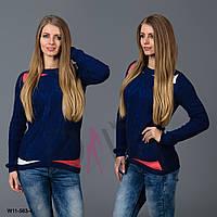 Стильный свитер женский с узором косичка W11-563-4