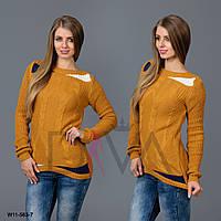 Свитер женский с узором косичка  W11-563-7 женские свитера туники оптом