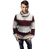 Мужской теплый свитер, белого с красным цвета