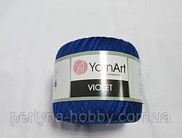 Пряжа нитки для вязания хлопковые Виолет Ярнарт Violet YarnArt 100% бавовна синій № 4915