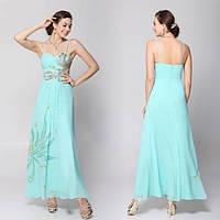 Голубое шифоновое длинное платье
