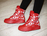 С518 - Ботинки женские зимние красные звезды