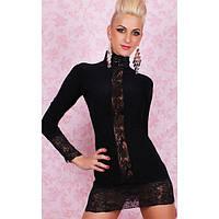 Маленькое черное платье с гепюровыми вставками