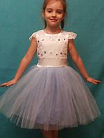 Детское нарядное платье нежно голубое с камнями