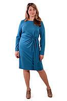 Платье женское голубое трикотажное большие размеры  теплое с длинным рукавом пл 149-1