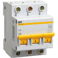 Выключатель автоматический 3П, 6А, характеристика В, ИЭК ВА47-29, MVA20-3-006-B