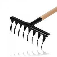 Витые грабли с черенком 8 зубцов