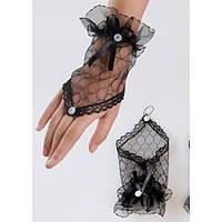 Черные короткие прозрачные перчатки