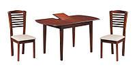 Кухонный обеденный комплект Герда/Бруно (1+4)  (ТК экрю) (каштан), раскладной стол и 4 стула