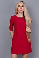 Красное платье с карманами в боковых швах