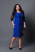 Качественное платье модного цвета со вставками гипюра