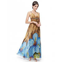 РАСПРОДАЖА! Вечернее длинное платье с шикарным принтом крупные синие цветы