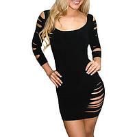 Облегающее черное циническое платье с многочисленными разрезами