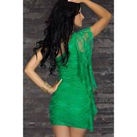 Зеленое кружевное платье на одно плечо