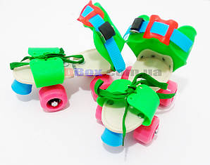 Ролики дитячі квадровые Mini Roller Зелений/Рожевий (2T3001)