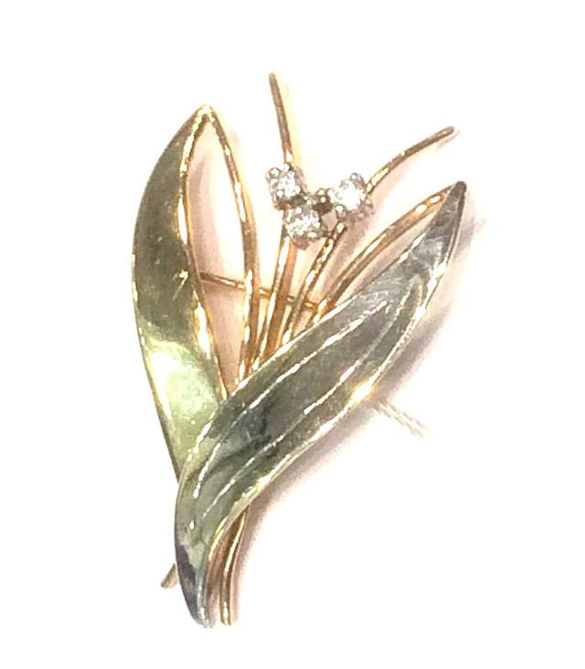 Золотая брошка Тюльпан с фианитами