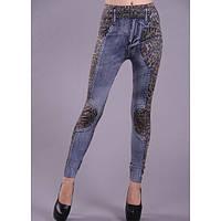 Леггинсы, стилизованные под джинсы с леопардовой шкурой