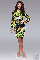 Модное зеленое  ангоровое платье с разводами. Арт-9501/17