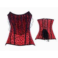 Красный корсе  с леопардовым принтом